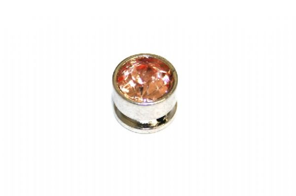 10pcs x 7mm*6mm Round metal bead with peach rhinestone -- 1 hole -- S.A. -- WC214 -- 5000005